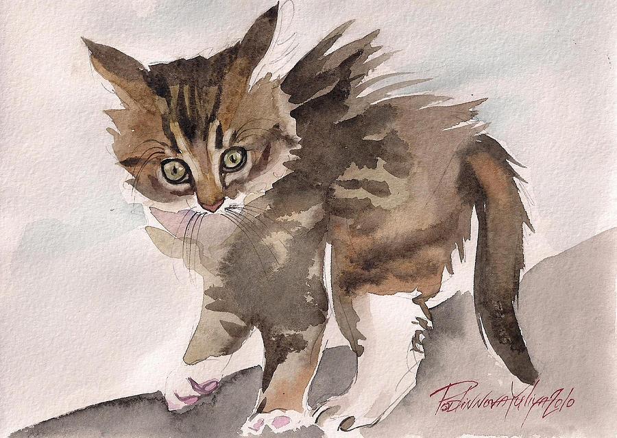 Cat Kitty Kitten Sweet Wild Gray Tabby Watercolor Paper Painting - Wild Thing by Yuliya Podlinnova