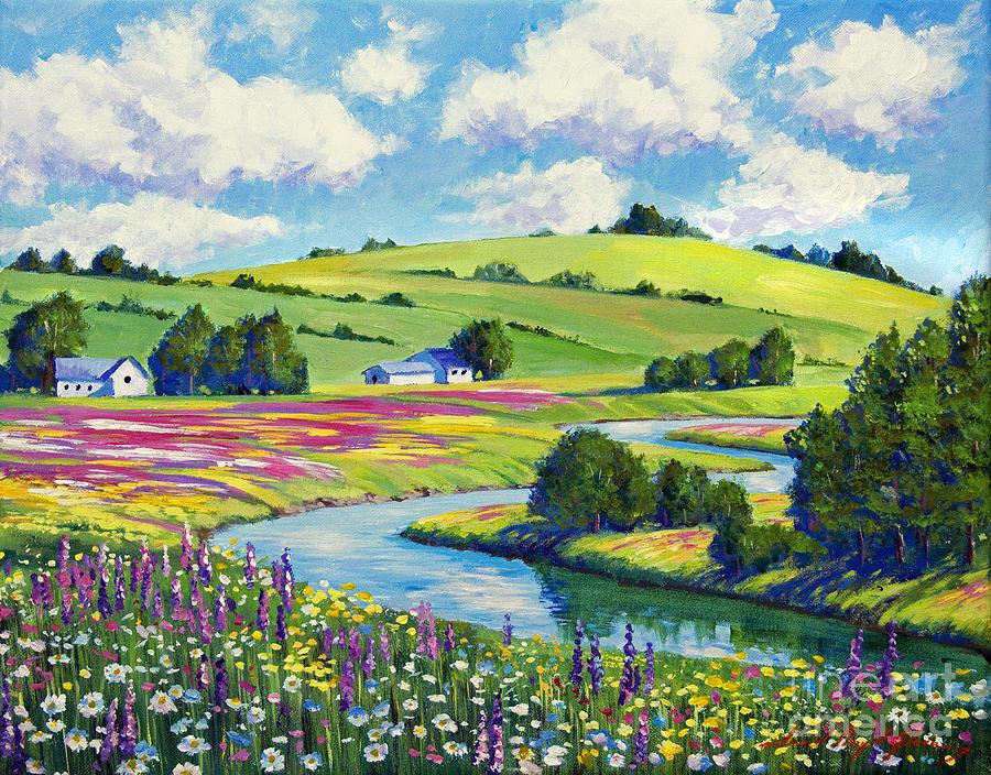 Landscape Painting - Wildflower Fields by David Lloyd Glover