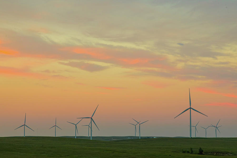 Wind Turbine Sunset Photograph
