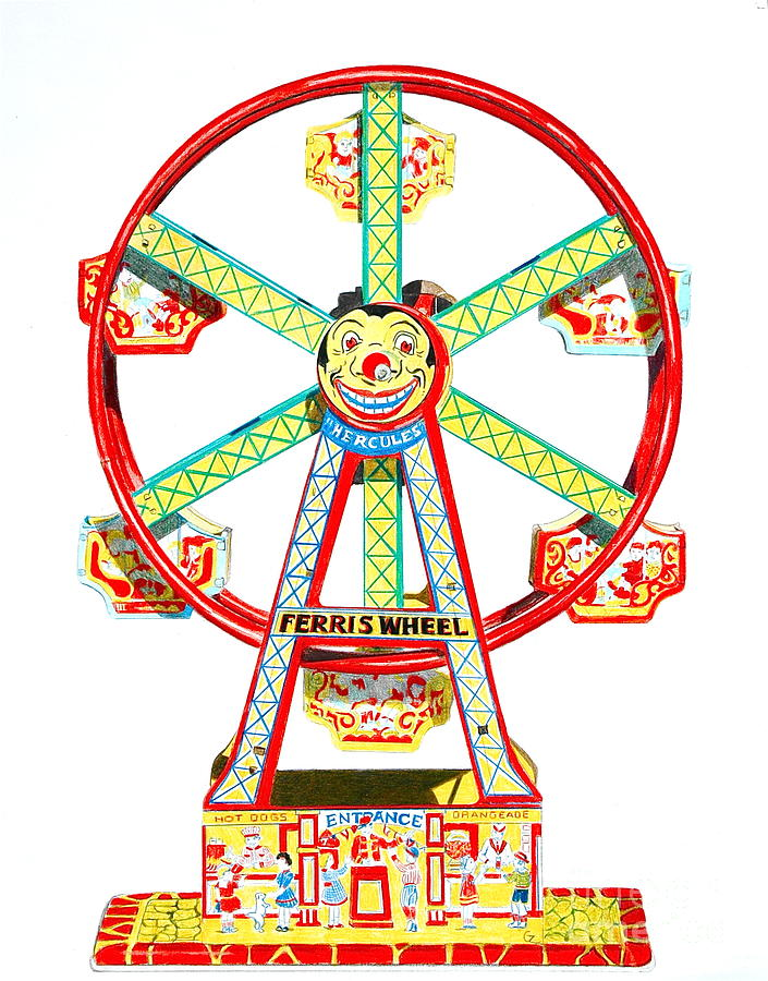 Ferris Wheel Paintings Drawing - Wind-up Ferris Wheel by Glenda Zuckerman