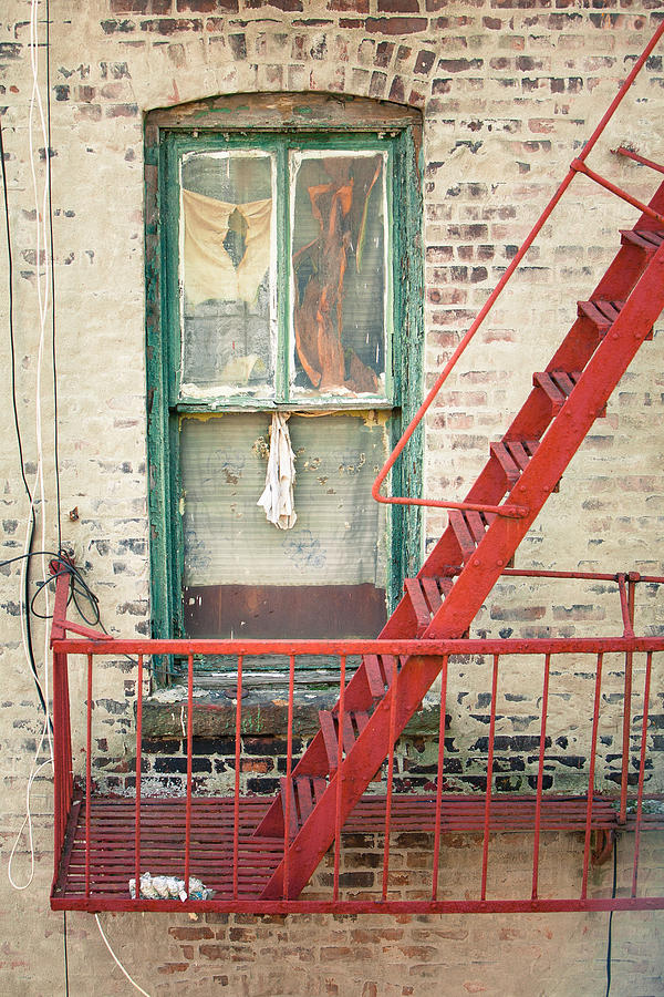 Windows Photograph - Window And Red Fire Escape by Gary Heller