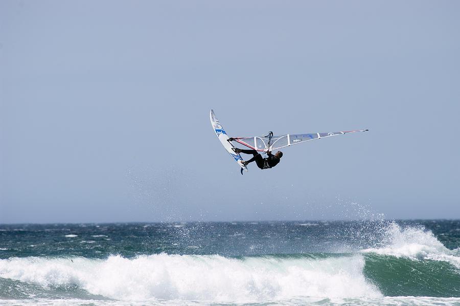 Windsurfing Photograph - Windsurfer Jumping Waves At Jalama by Rich Reid