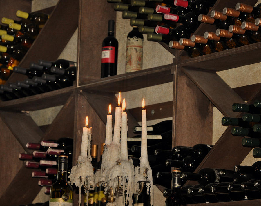 Winebottles Photograph - Wine And Candles  by Rose  Hill