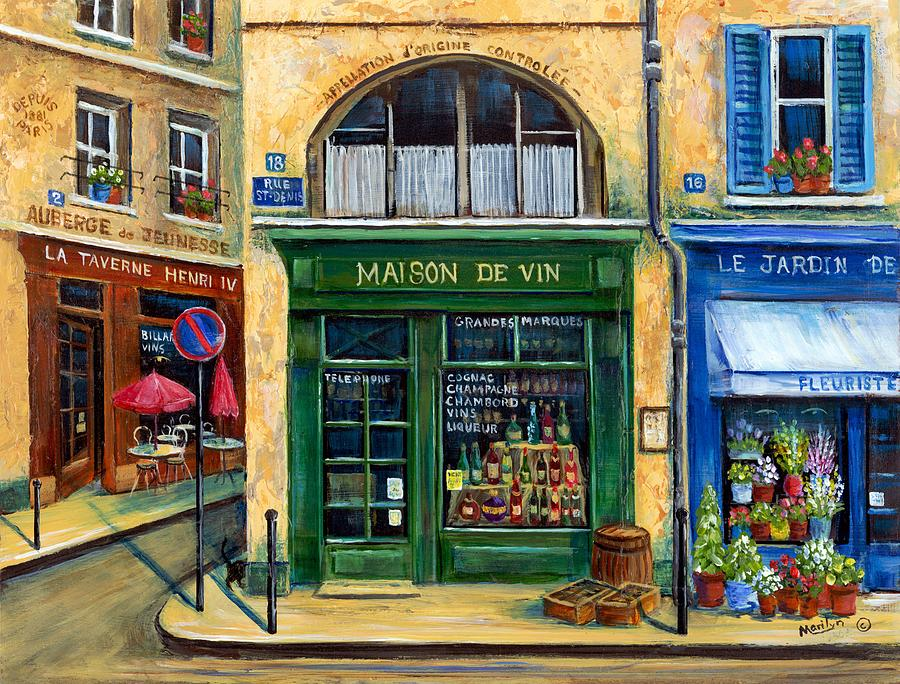 French Street Scene Painting - Wine And Flowers by Marilyn Dunlap