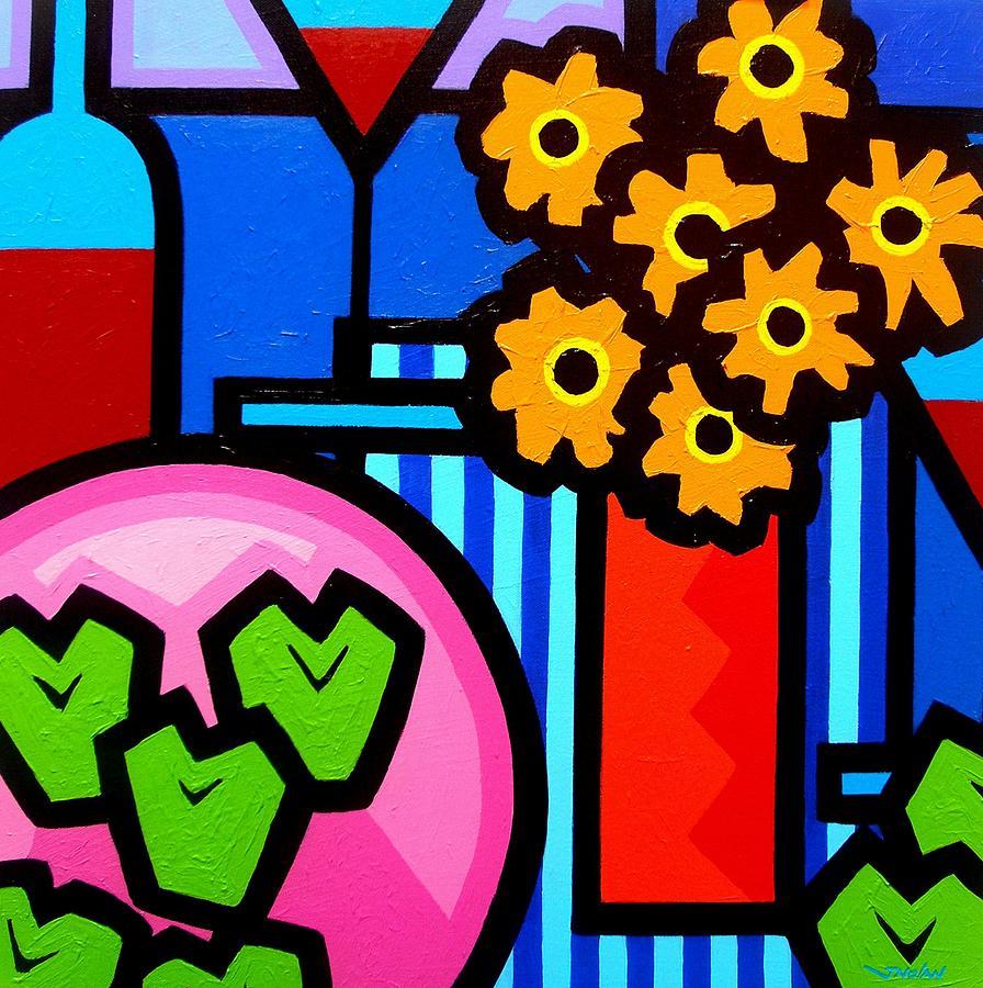 Vincent Van Gogh Painting - Wine Apples Flowers by John  Nolan