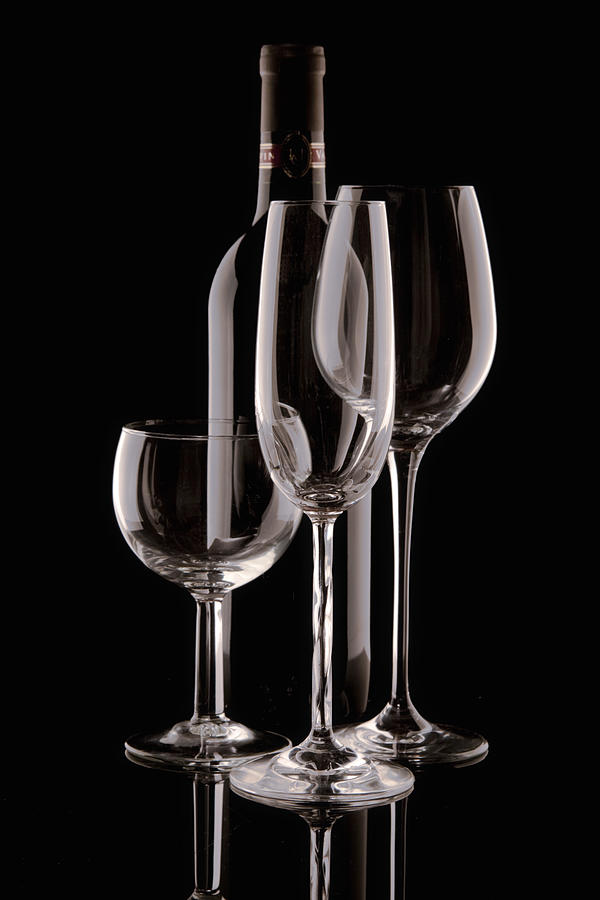 Wine Photograph - Wine Bottle And Wineglasses Silhouette by Tom Mc Nemar