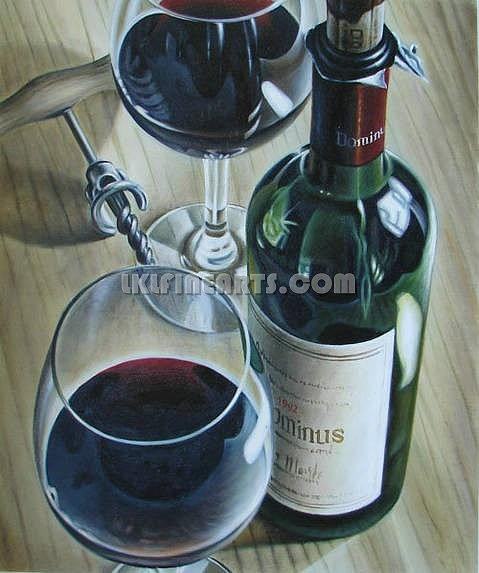 Handmade Painting Painting - Wine Bottle Still Life Painting by Artist