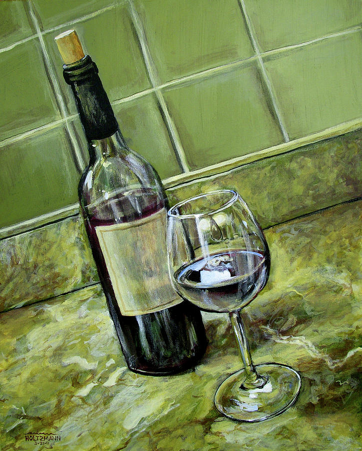 Wine glass and bottle by arleana holtzmann for Wine and paint st louis