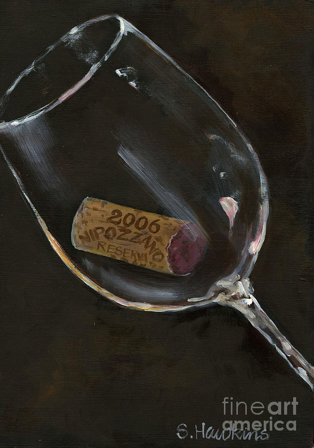 Wine Glass Painting - Wine With Dinner by Sheryl Heatherly Hawkins