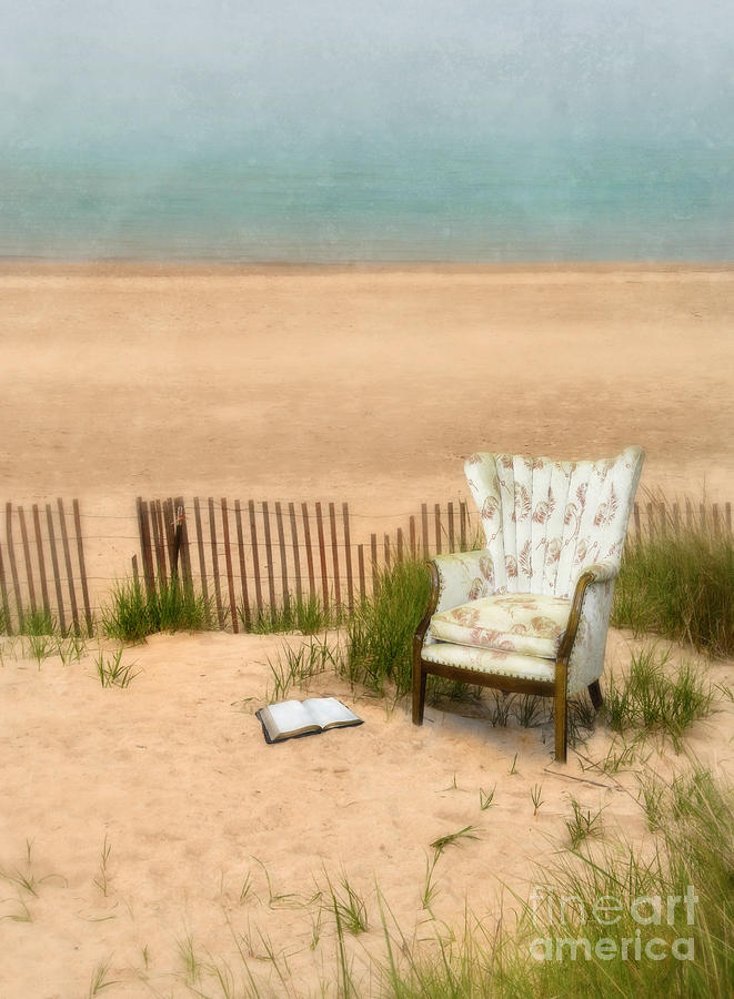 Wingback Chair At The Beach Photograph