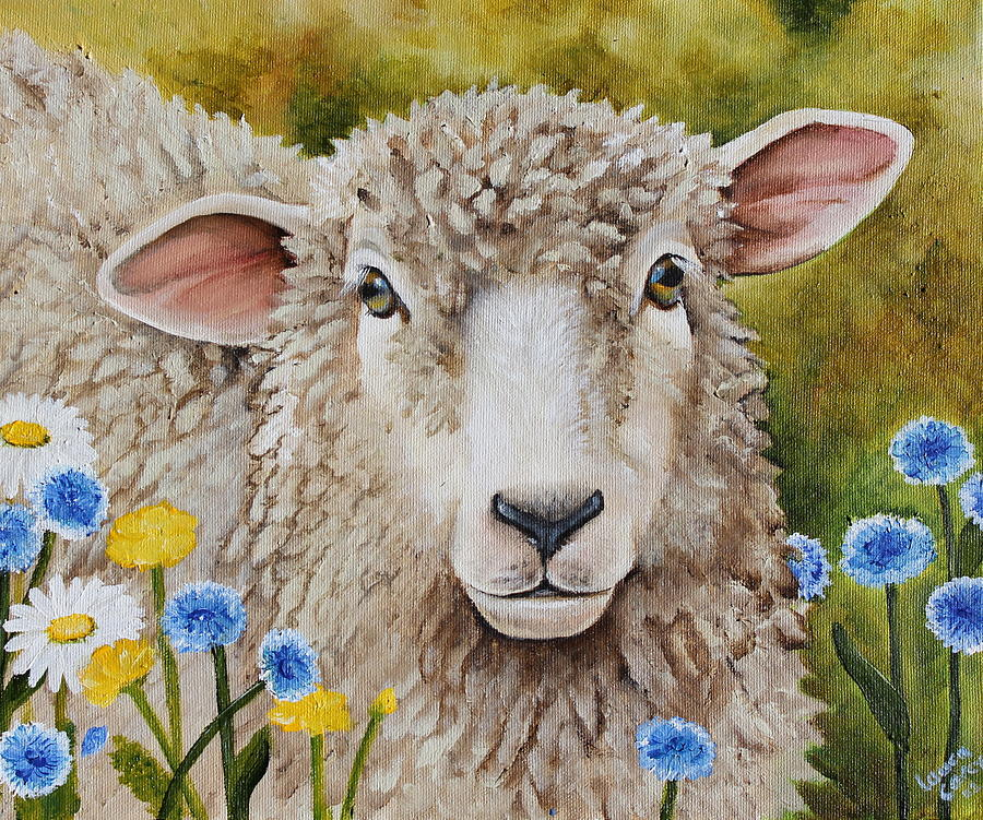 Sheep Painting - Winnie In The Wild Flowers by Laura Carey