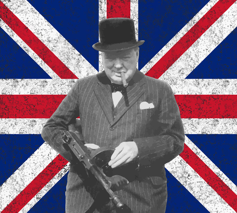 Winston Churchill Painting - Winston Churchill And His Flag by War Is Hell Store