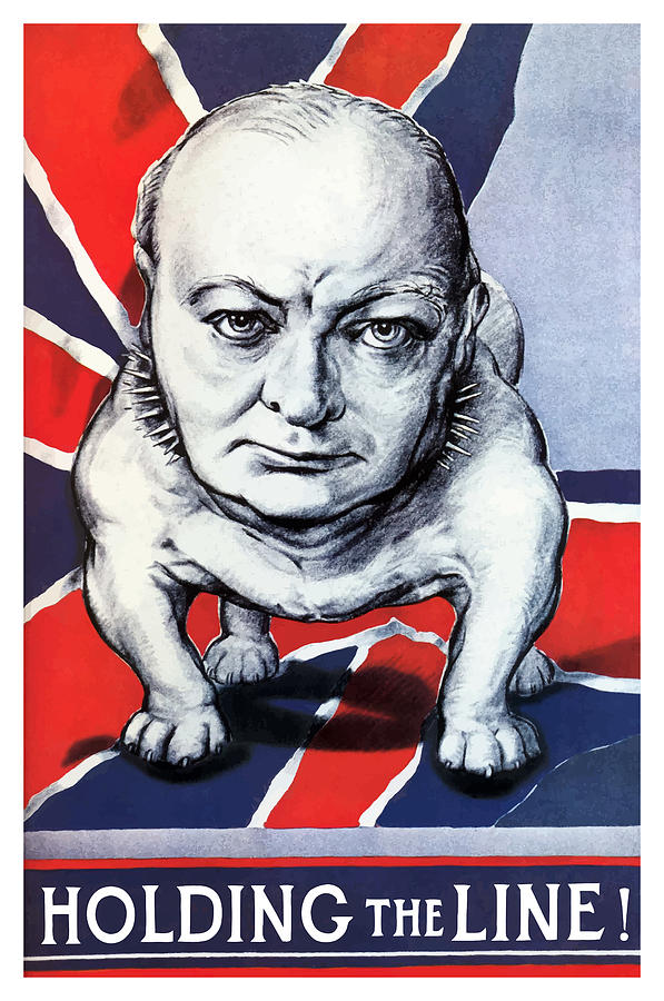 Winston Churchill Holding The Line Painting By War Is Hell