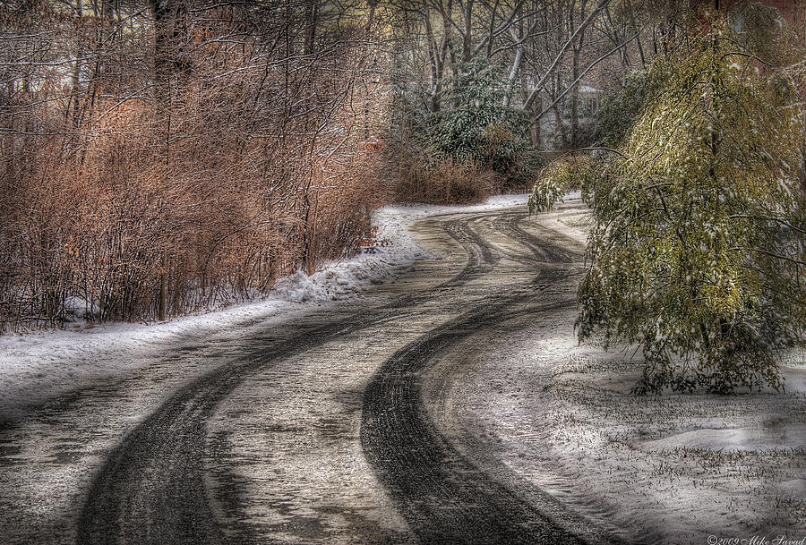 Savad Photograph - Winter - Road - The Hidden Road by Mike Savad