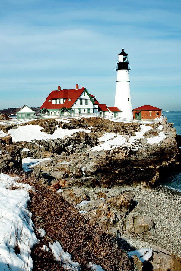 Coast Photograph - Winter At Portland Head by Greg Fortier