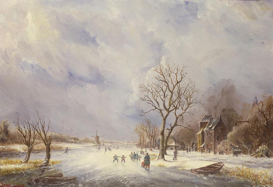 Winter Painting - Winter Canal Scene by Jan Lynn