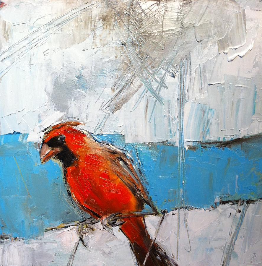 Cardinal Painting - Winter Cardinal by Claire Kayser