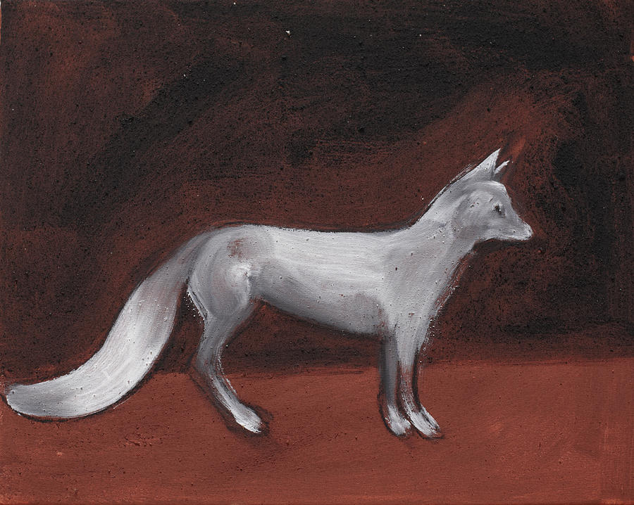 White Fox Animal Snow Night Painting - Winter Fox by Sophy White