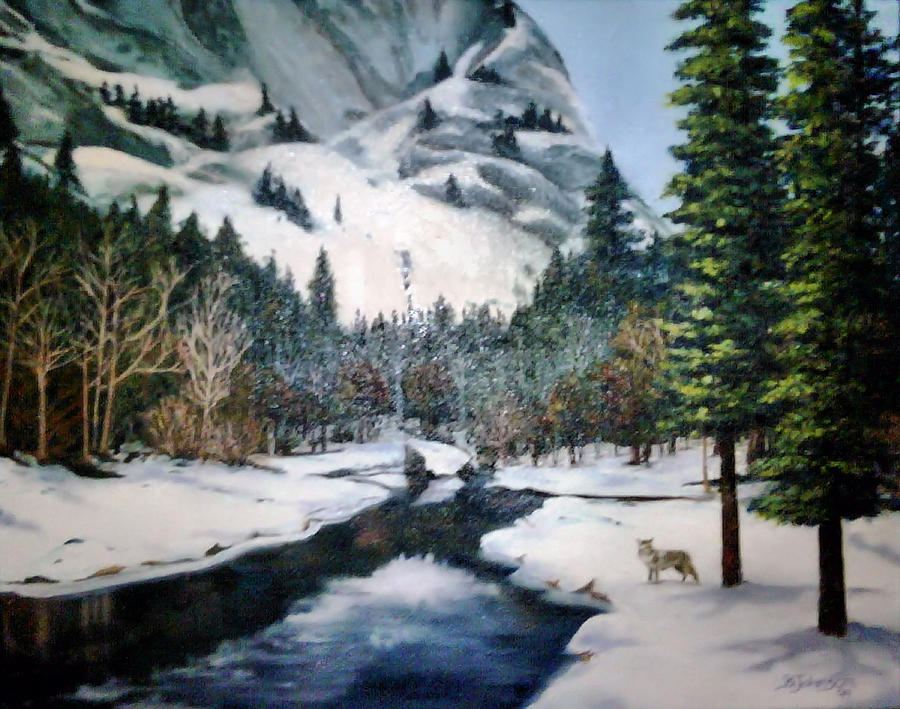 Landscape Painting - Winter Half Dome by Beverly Johnson