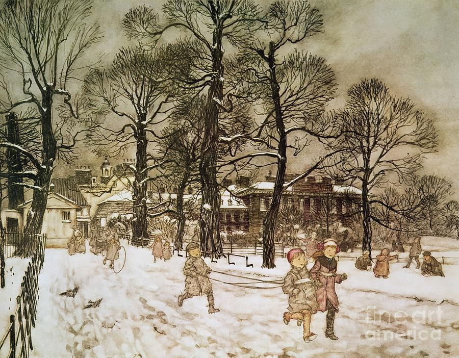 Arthur Rackham Drawing - Winter In Kensington Gardens by Arthur Rackham