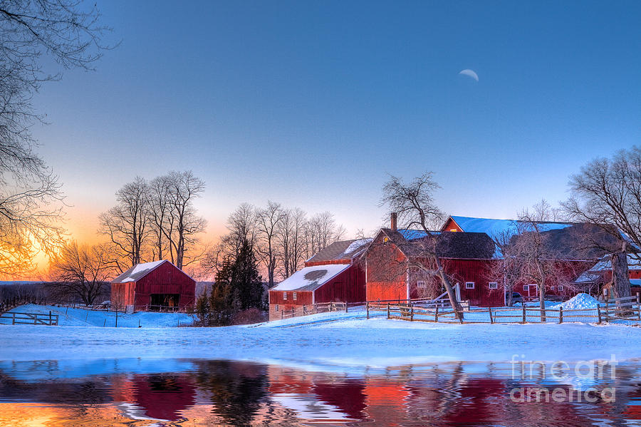 Red Barn Photograph - Winter In New England by Michael Petrizzo