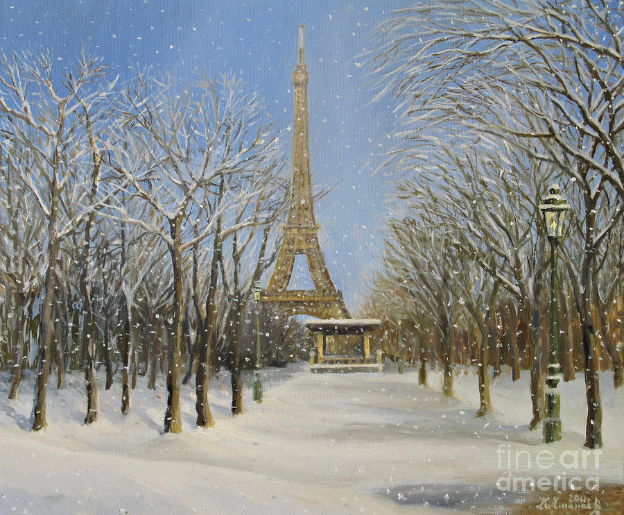 Architecture Painting - Winter In Paris by Kiril Stanchev