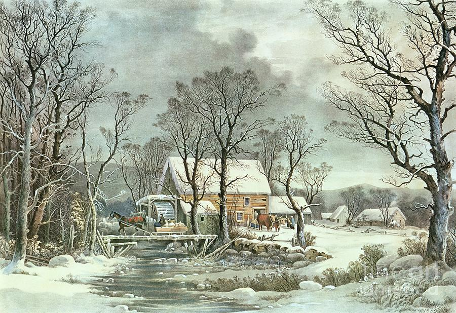 Winter In The Country - The Old Grist Mill Painting