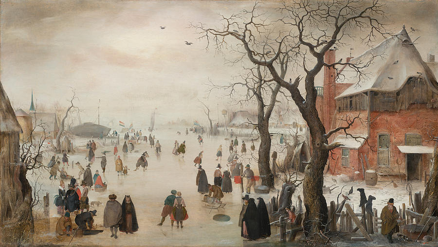 Winter Landscape Near A Village, C. 1610 Painting by ...