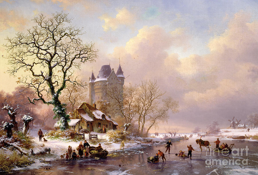 Winter Painting - Winter Landscape With Castle by Frederick Marianus Kruseman