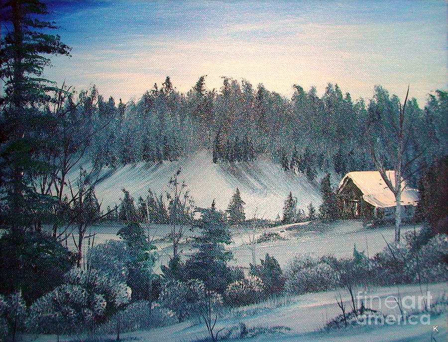 Winter Meadow Painting