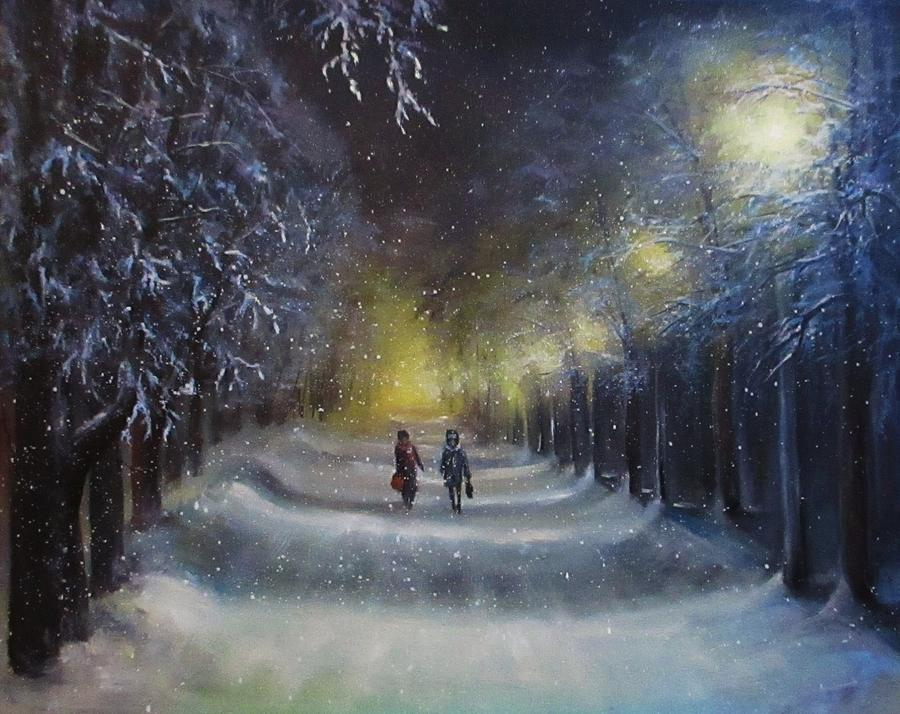 Winter Night Walk Painting by Natalja Picugina