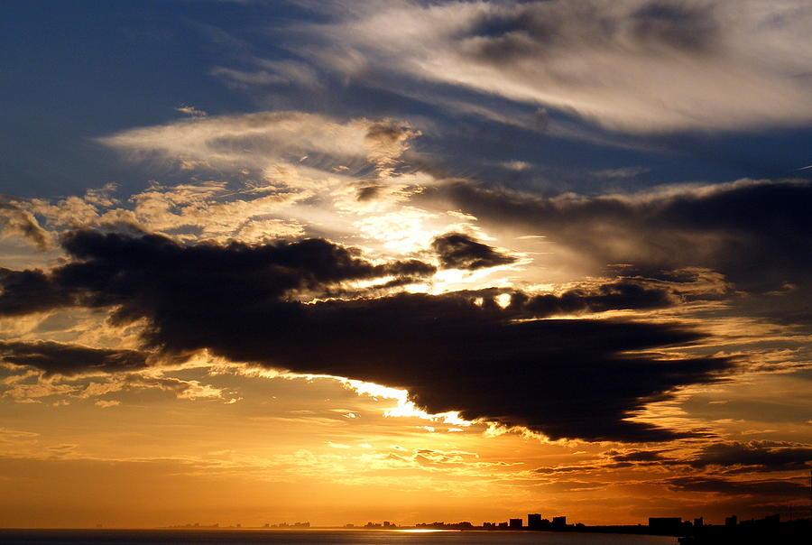 Sunset Photograph - Winter Ocean Sunset At Cherry Grove Beach by Elena Tudor