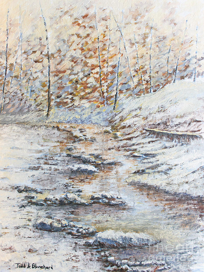 Landscape Painting - Winter River by Todd A Blanchard