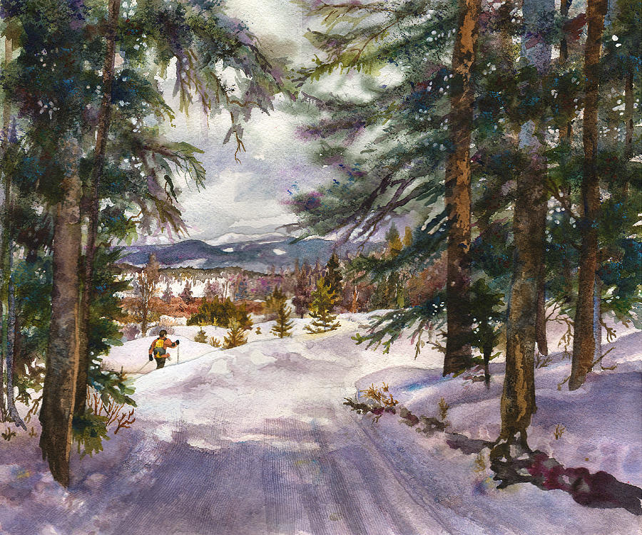 Colorado Snowy Mountains Painting Painting - Winter Solace by Anne Gifford