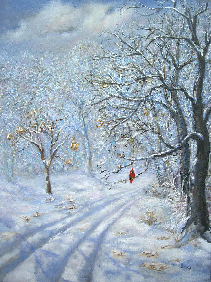 Snow Painting Painting - Winters Guest Jockey Hollow New Jersey by Luczay