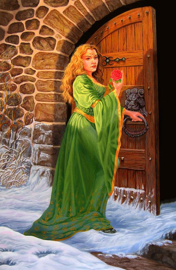 Medievil Painting - Winters Last Rose by Pat Lewis