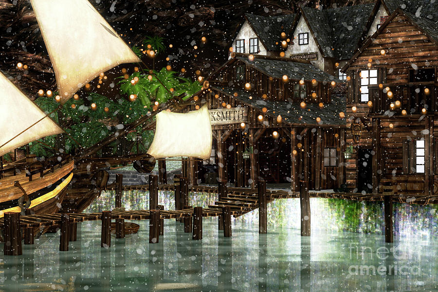 Wintery Inn Digital Art