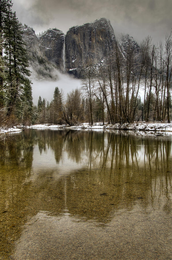 Beautiful Photograph - Wintery Upper And Lower Yosemite Falls  by Connie Cooper-Edwards