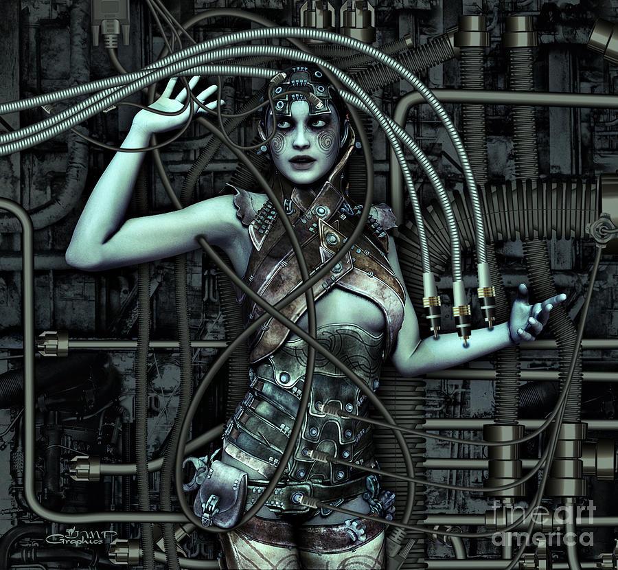 3d Digital Art - Wired by Jutta Maria Pusl