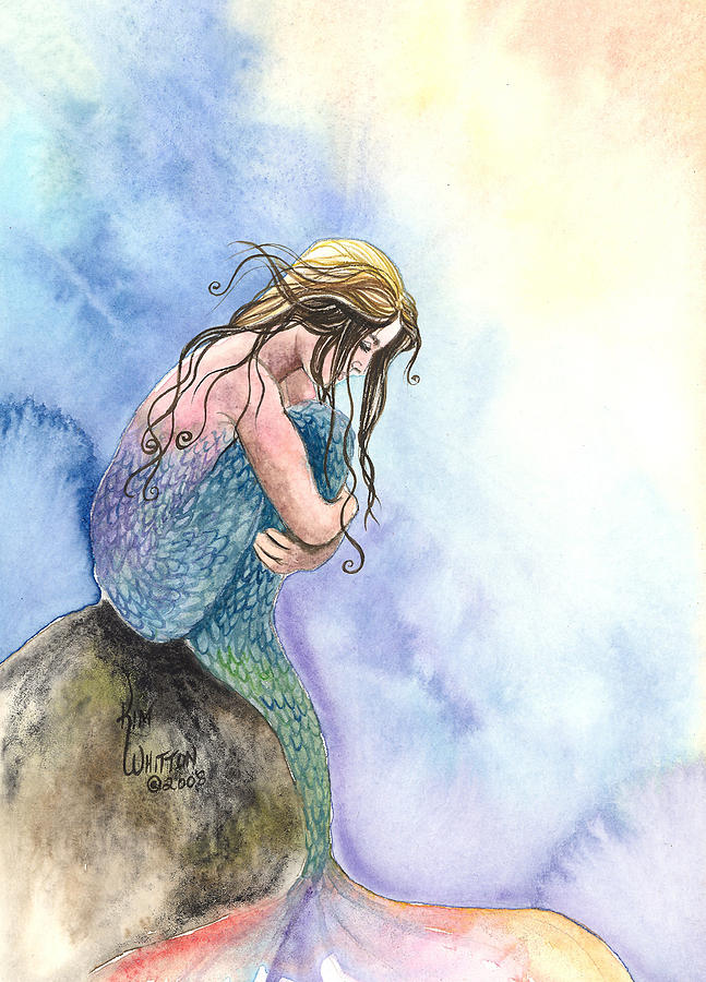 Mermaid Painting - Wishful Thinking by Kim Whitton