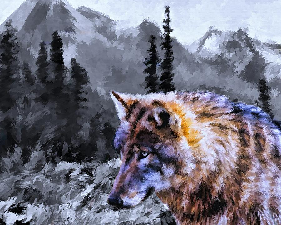 wolf in the wilderness painting by movie poster prints