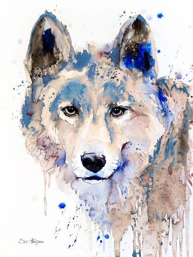 Wolf Painting By Slavi Aladjova