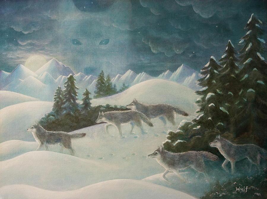 Wolf Pack Painting - Wolfspirit by Bernadette Wulf