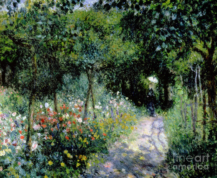 Woman; Lady; Path; Lush; Summer; Wild; Overgrown; Parasol; Female Painting - Woman In A Garden by Pierre Auguste Renoir