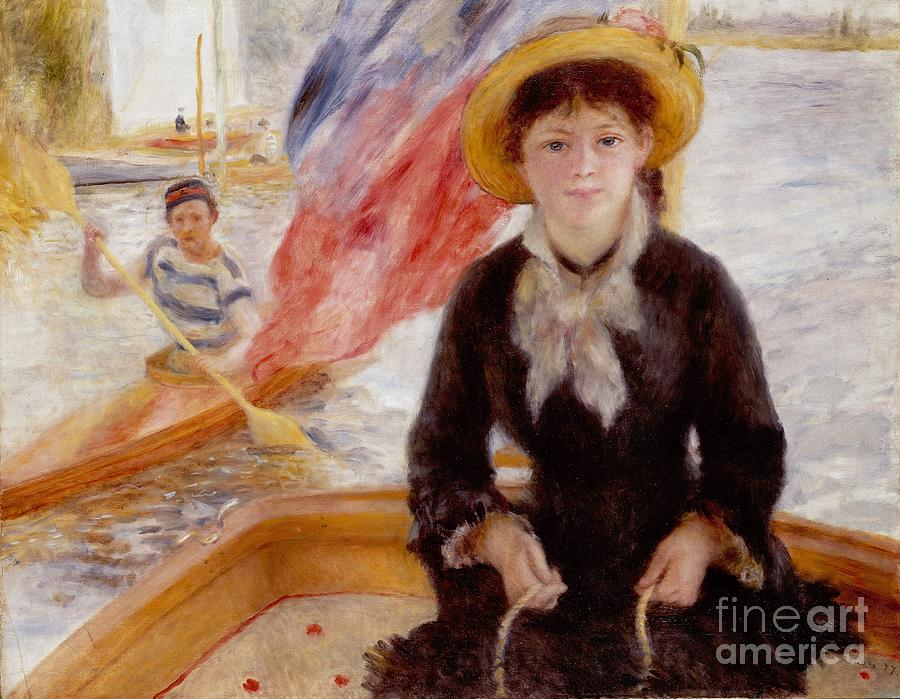 Woman Painting - Woman In Boat With Canoeist by Renoir