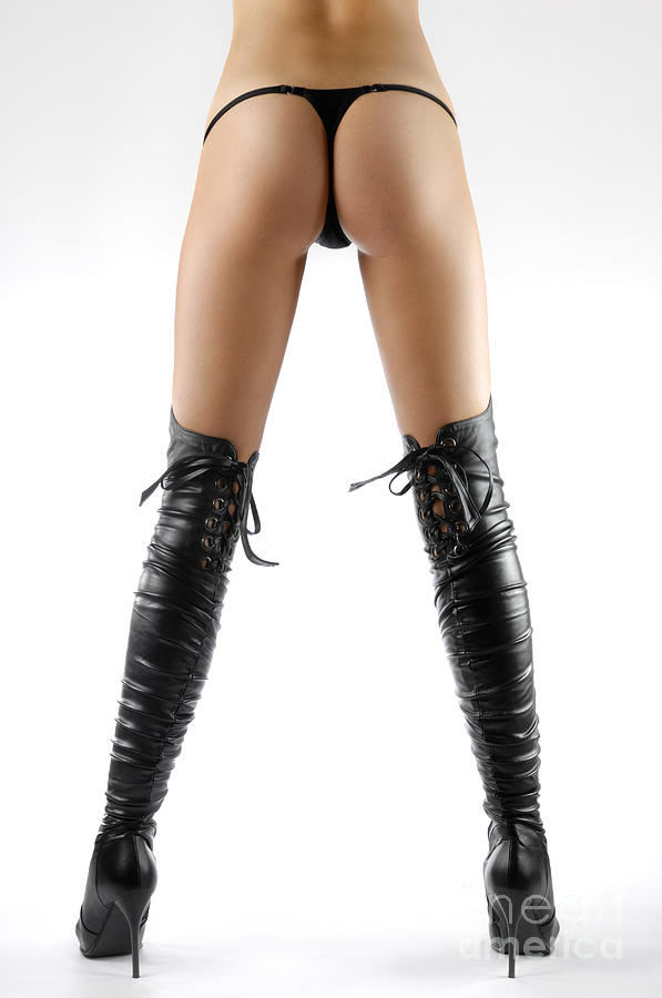 Woman Legs In Black Sexy Thigh High Stiletto Boots Photograph by