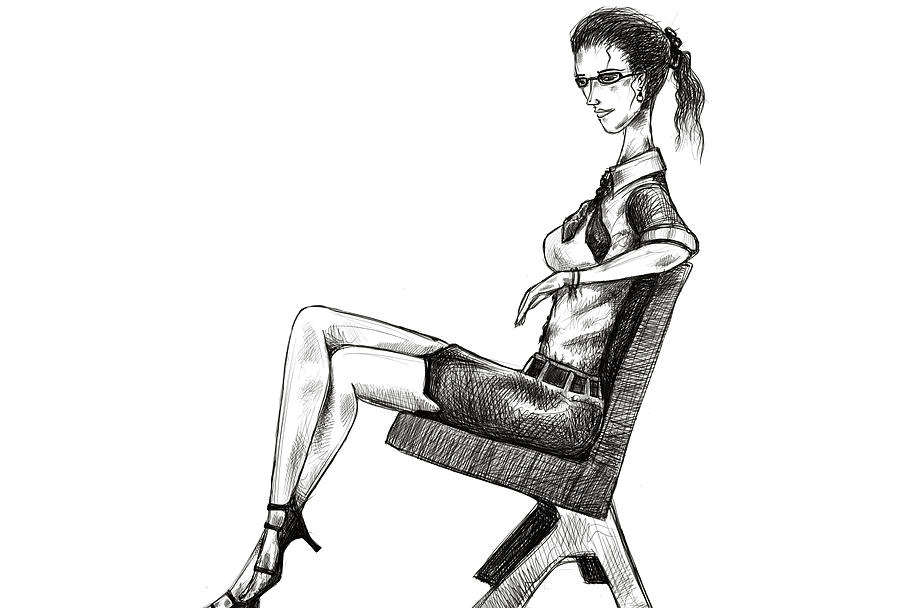 Woman On Bench Drawing