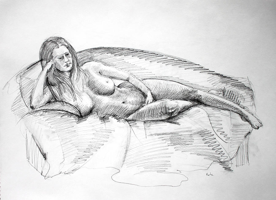 Mark Fine Art Drawing - Woman On Couch by Mark Johnson