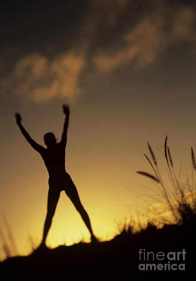 Amazing Photograph - Woman Stretching On A Mountain by Dana Edmunds - Printscapes