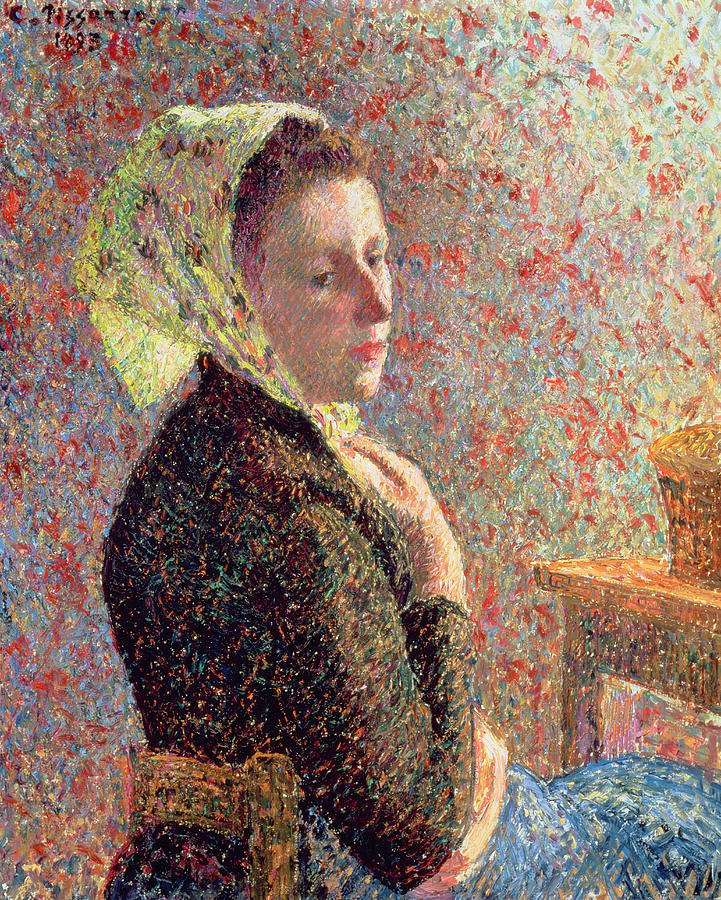 Woman Painting - Woman Wearing A Green Headscarf by Camille Pissarro